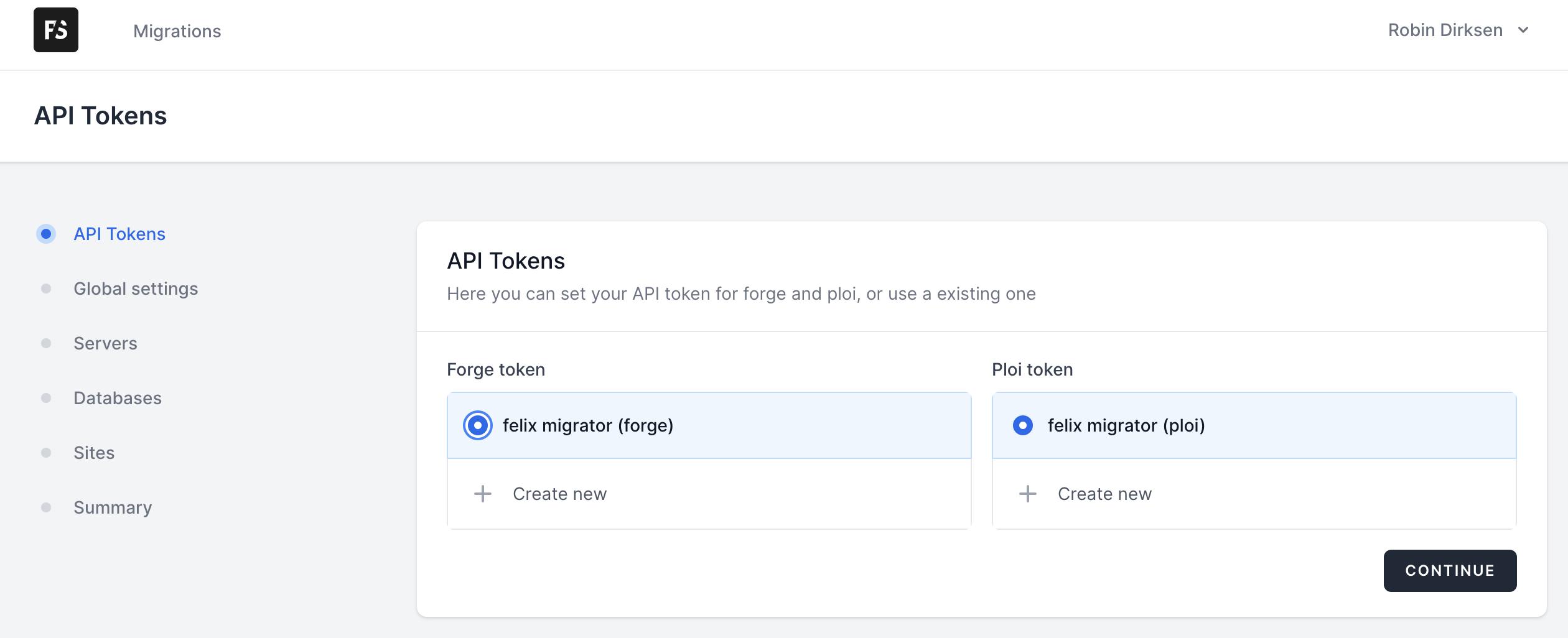 API tokens for server migrator