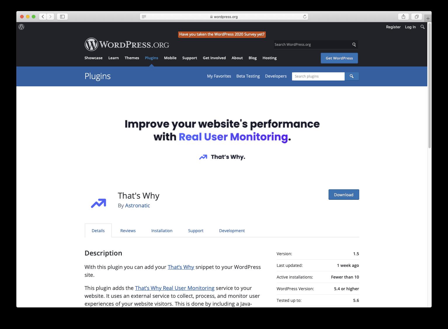 Wordpress.org That's Why Real User Monitoring plugin